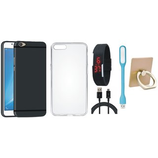 Samsung J5 Prime Stylish Back Cover with Ring Stand Holder, Silicon Back Cover, Digital Watch, USB LED Light and USB Cable