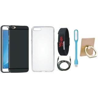 Samsung J5 Prime Back Cover with Ring Stand Holder, Silicon Back Cover, Digital Watch, USB LED Light and AUX Cable