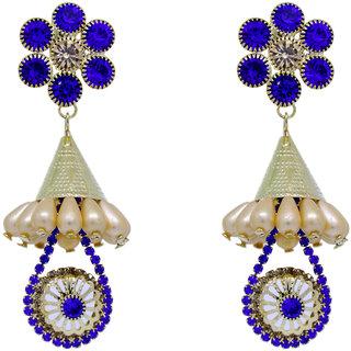 KailasMegha Fashion Jewelley Golden Blue Earrings Party Wear Jewellery for Girls and Women