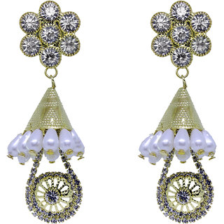 KailasMegha Fashion Jewelley Golden White Earrings Party Wear Jewellery for Girls and Women