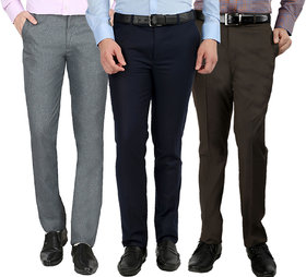 Gwalior Pack Of 3 Formal Trousers - Blue, Brown, Light Grey
