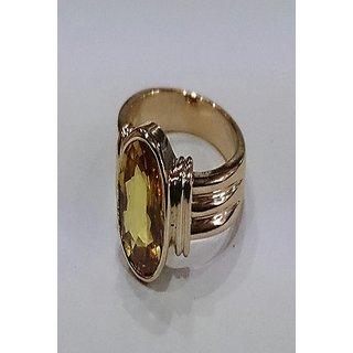 Pukhraj Ring Natural Yellow Sapphire Copper Plated Adjustable Ring Jaipur Gemstone