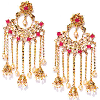 79dc87c38 Jewels Galaxy Exquisite Pearls Kundan Studded Floral Design Long Chain Drop  Ethnic Chandelier Earrings For Women/Girls