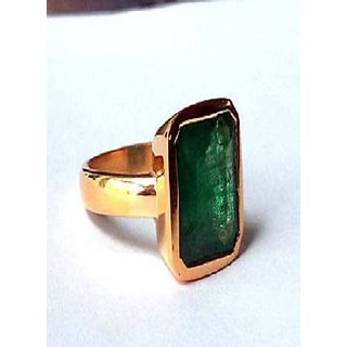 Emerald Panna Ring Gold/ Copper Plated Adjustable Ring Jaipur Gemstone