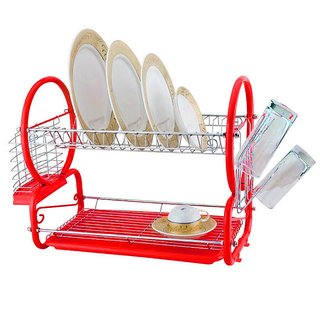 Zahab 2 Tier Dish Stainless Steel Drying Kitchen Storage Red