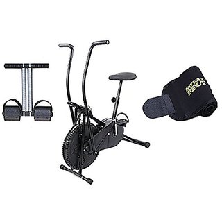 Lifeline Exercise Air Bike Moving Handle for Weight Loss at Home Bonus Tummy Trimmer and Sweat Belt for Stomach Exercise
