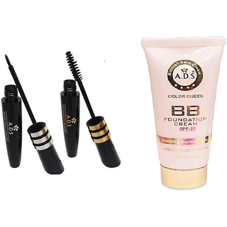 DAILY WEAR BEAUTY COMBO - ADS BB foundation cream SPF 20 - 60ML + ADS mascara + ADS EYELINER