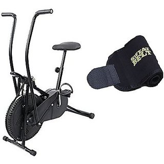 Lifeline Exercise Air Bike Moving Handle for Weight Loss at Home Bonus Sweat Belt for Stomach Exercise