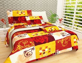 Choco Creation Yellow Check Double Bedsheet with Two Full Size Pillow Cover Pack of 1