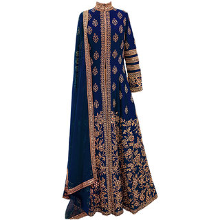 Ap Enterpsise Designer Blue Banglory Silk Embroidery Semi-Stitched Salwar Suit Wedding