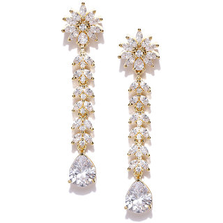 Jewels Galaxy Brilliant White AAA CZ Decent Flower Design White Crystal Gold Plate Ethnic Drop Earrings For Women/Girls