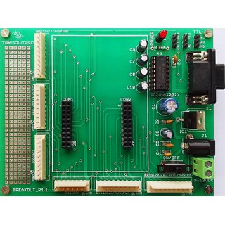 TEKNOWTASC Multicontroller Development board, on board MAX232, Power Supply 5VDC+, RS232 (DB9) Connector