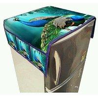 Khushi Creation Designer 3D Digital Printed Jute Fabric Refrigerator Cover (with 3 Pockets on Both Side)