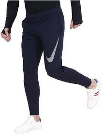 Nike Men's Navy Polyester  Track pants