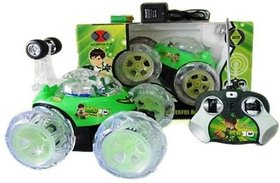 Stunt Car High Quality Remote Control Dancing Racing Led  (Green) Rechargable