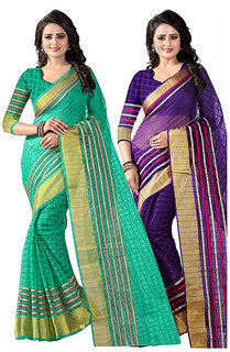 combo of 2 poly cotton saree Green Purple