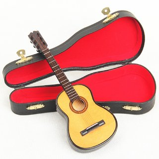 112 Mini Wooden Miniature Musical Acoustic Guitar With Case, Highly Detailed Collections for Doll House