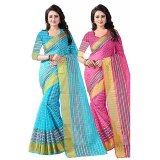 1d93e6a35f09e Buy combo of 2 poly cotton saree Blue Pink Online - Get 80% Off