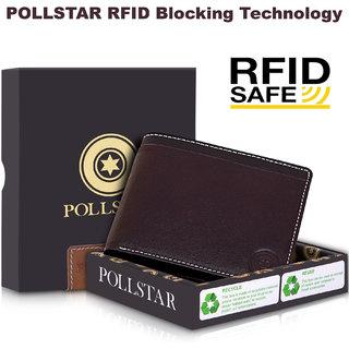POLLSTAR Men's High Quality RFID Blocking Genuine Leather Purse With Pebbled Strip  (WL730BN)
