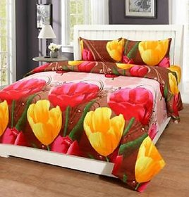 Polycotton Designer 3D Double Bed Sheet With 2 Pillow Covers - Red
