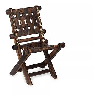 Onlineshoppee Vintgae Low Height Wooden Rope Lounge Chair