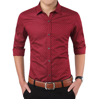 Frankline Cotton Casual Dotted Shirt Slim Fit