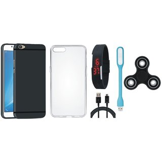 Samsung C9 Pro Silicon Anti Slip Back Cover with Spinner, Silicon Back Cover, Digital Watch, USB LED Light and USB Cable