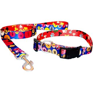 Petshop7 1inch High Quality  Stylish Nylon Printed Orange Dog Collar  Leash - Medium (Neck Size - 15-23inch)