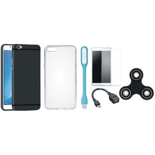 Samsung C9 Pro Cover with Spinner, Silicon Back Cover, Tempered Glass, USB LED Light and OTG Cable