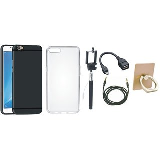 Oppo F5 Back Cover with Ring Stand Holder, Silicon Back Cover, Selfie Stick, OTG Cable and AUX Cable