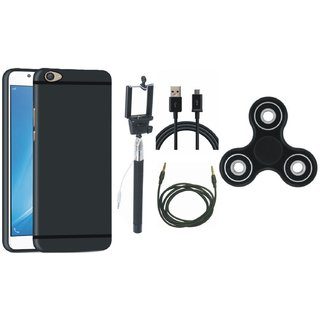 Vivo V7 Soft Silicon Slim Fit Back Cover with Spinner, Selfie Stick, USB Cable and AUX Cable
