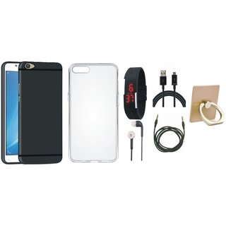 Oppo F5 Back Cover with Ring Stand Holder, Silicon Back Cover, Digital Watch, Earphones, USB Cable and AUX Cable