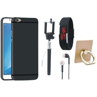 Oppo F5 Silicon Anti Slip Back Cover with Ring Stand Holder, Selfie Stick, Digtal Watch and Earphones