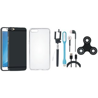 Samsung C9 Pro Back Cover with Spinner, Silicon Back Cover, Selfie Stick, Earphones, USB LED Light and USB Cable