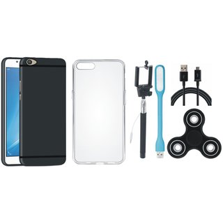 Samsung C9 Pro Cover with Spinner, Silicon Back Cover, Selfie Stick, USB LED Light and USB Cable