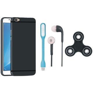 Vivo V7 Silicon Slim Fit Back Cover with Spinner, Earphones and USB LED Light