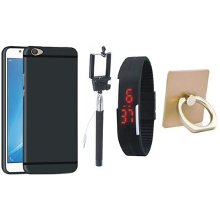 Oppo F5 Silicon Anti Slip Back Cover with Ring Stand Holder, Selfie Stick and Digtal Watch