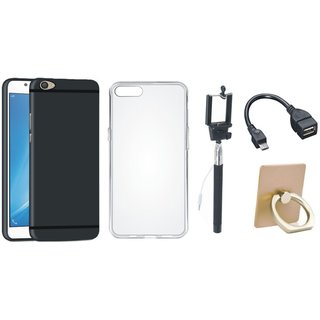 Oppo F5 Silicon Anti Slip Back Cover with Ring Stand Holder, Silicon Back Cover, Selfie Stick and OTG Cable