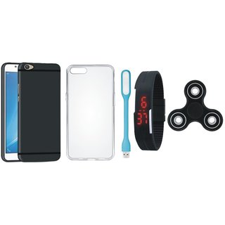 Vivo V7 Soft Silicon Slim Fit Back Cover with Spinner, Silicon Back Cover, Digital Watch and USB LED Light