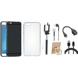 Oppo F5 Cover with Ring Stand Holder, Silicon Back Cover, Selfie Stick, Earphones, OTG Cable and USB Cable