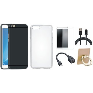 Oppo F5 Cover with Ring Stand Holder, Silicon Back Cover, Tempered Glass, OTG Cable and USB Cable