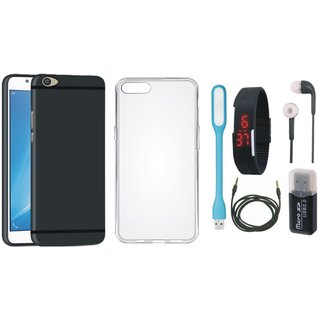 Vivo V7 Silicon Anti Slip Back Cover with Memory Card Reader, Silicon Back Cover, Digital Watch, Earphones, USB LED Light and AUX Cable