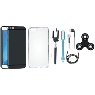 Moto G5 Cover with Spinner, Silicon Back Cover, Selfie Stick, Earphones, USB LED Light and AUX Cable