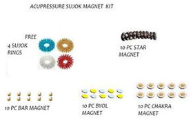 NP NAVEEN PLASTIC Acupressure Sujok Therapy Magnets ( bar + Chakra + Star + Byol Magnets ) With Massage Rings