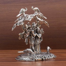 S.V.M  Oxodised Decorative Radha Krishna statue Special playing flute under kadam tree flower for Home Decorative Item