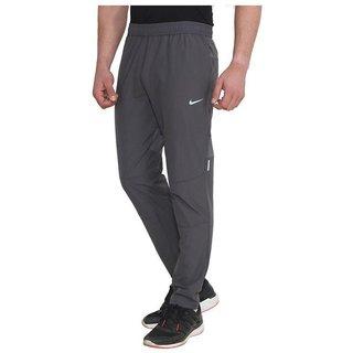 Nike Grey Polyester Lycra Running Trackpants For Men