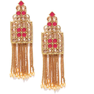 Jewels Galaxy Elegant Kundan Studded Square Design Pearls Drop Chains Gold Plated Ethnic Earrings For Women/Girls