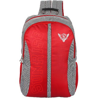Sunrise+ Red Grey Polyster Backpack For Unisex