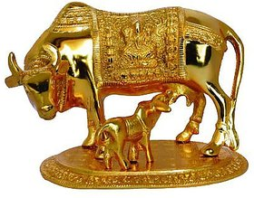Satya vipal  Kamdhenu Cow Calf Holy Wishing Fulfilling Gomata Statue Color Golden White Metal
