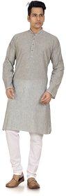 Trustedsnap solid light grey kurta for mens